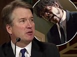 A mashup of clips from Brett Kavanaugh's Thursday testimony on sexual assault allegations and an iconic scene from the film Pulp Fiction appears to show the Supreme Court nominee being threatened by fictional hitman Jordan Winnfield
