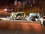 One of the males involved in the crash was moved to Westmead Hospital and is believed to be in an induced coma from a traumatic head injury,
