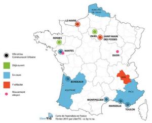 Carte du déploiement de l'Open Data en France en 2011