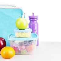 kids lunch with plastic storage