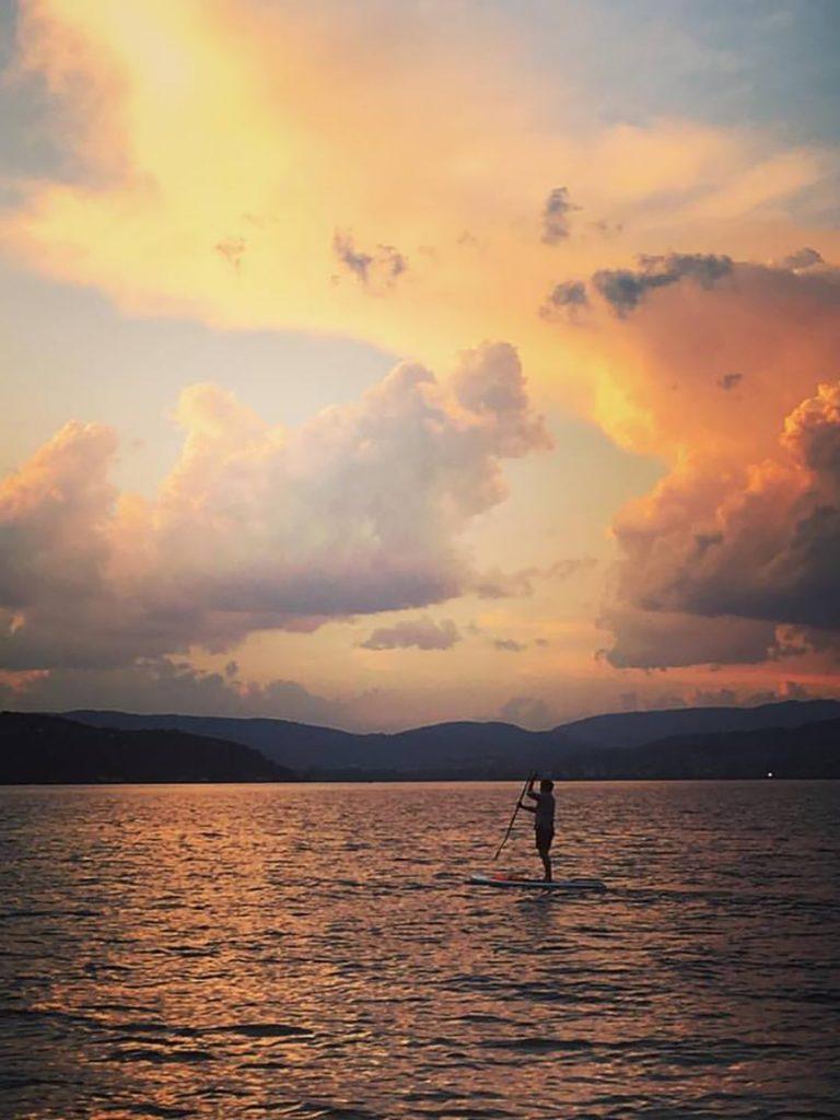 balade paddle coucher de soleil