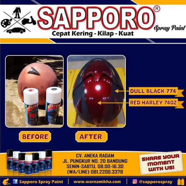 Sapporo Red Harley 7402 + Dull Black 774