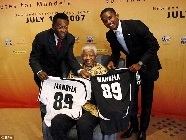 Birthday celebrations Pele and Eto'o hand Mandela a birthday present ahead of his 89th birthday