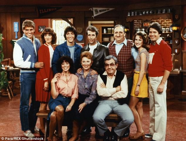 Moran is pictured bottom left with the rest of the Happy Days cast. She shot to fame in that role throughout the 70s and 80s before her career essentially stalled