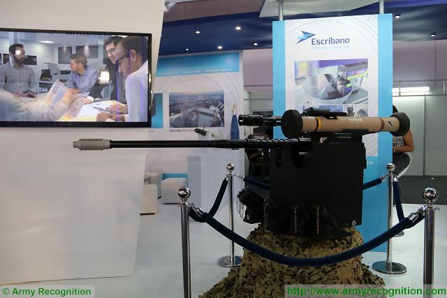 At SITDEF 2017, the Spanish Company Escribano presents its technologies of remotely operated weapon station which can be armed with an automatic cannon up to 30 mm caliber. The turret is fully stabilized and is fitted with optics also manufactured by Escribano.