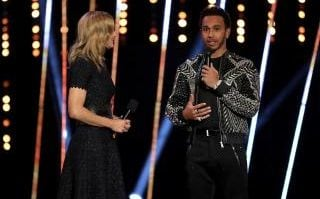 Lewis Hamilton is interviewed on stage during the BBC Sports Personality of the Year 2018