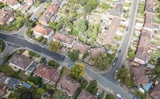 Aerial view of residential streets in Oxford