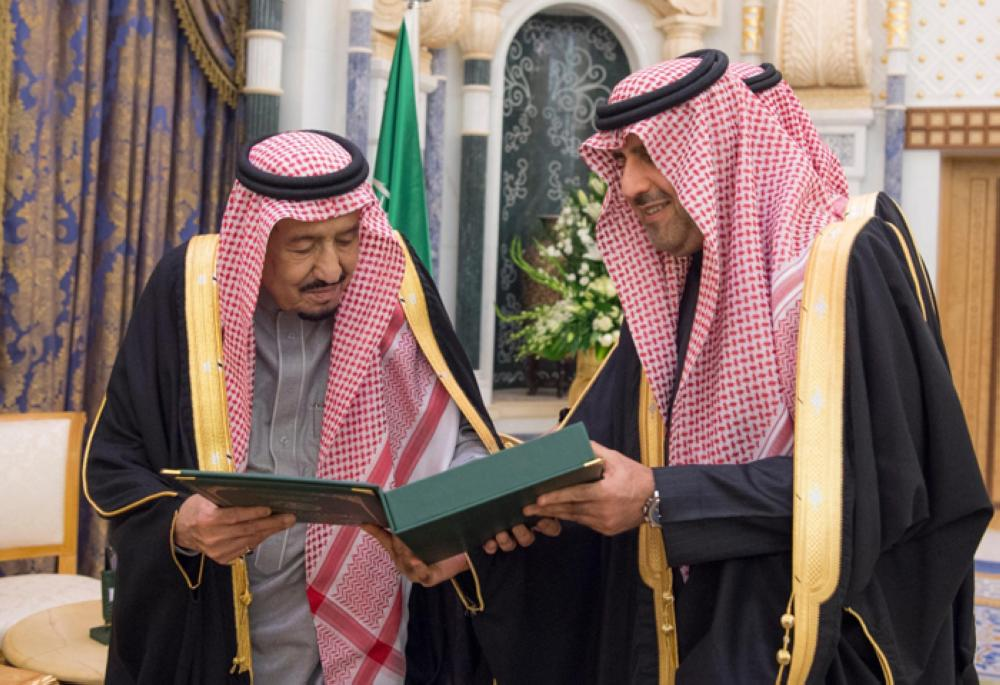 Custodian of the Two Holy Mosques King Salman receives the 58th annual report of the General Auditing Bureau from its President Dr. Hossam Al-Anqari at Al-Yamamah Palace in Riyadh on Tuesday. — SPA