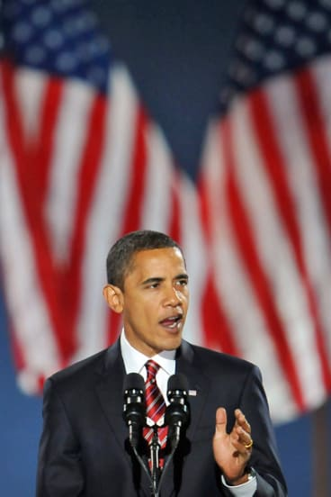 President-elect Barack Obama addresses supporters on election night at Grant Park in Chicago.