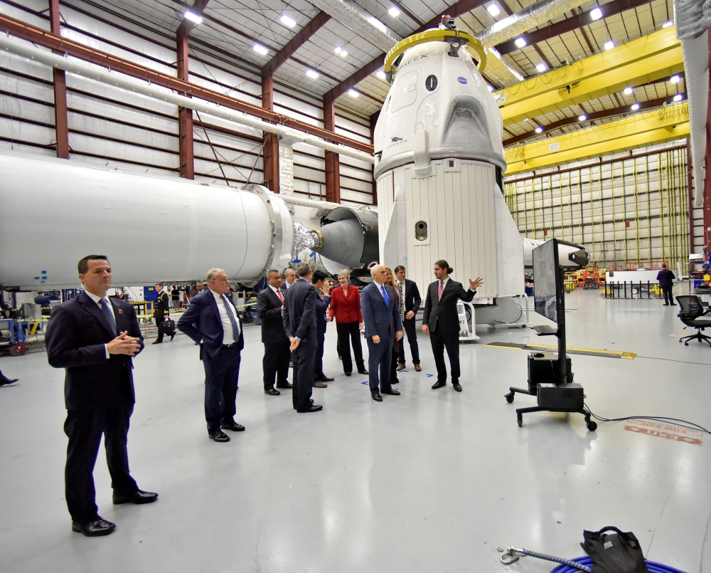 US Vice President Mike Pence tours the SpaceX hangar at Launch Complex 39-A where the Dragon crew module and Falcon 9 booster rocket are being prepared for a January 2019 launch at Cape Canaveral, Florida, in this Dec. 18, 2018 file photo. — Reuters