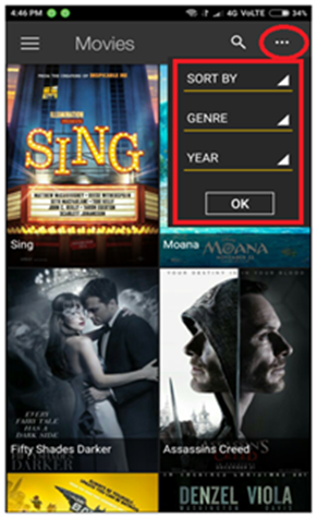 sort movies by genre year on showbox