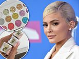 Kylie Jenner, 21, is seen above wearing glitter liquid eye shadow called Born To Sparkle that is identical to one made by Sheree Cosmetics, a federal lawsuit filed in New York alleges