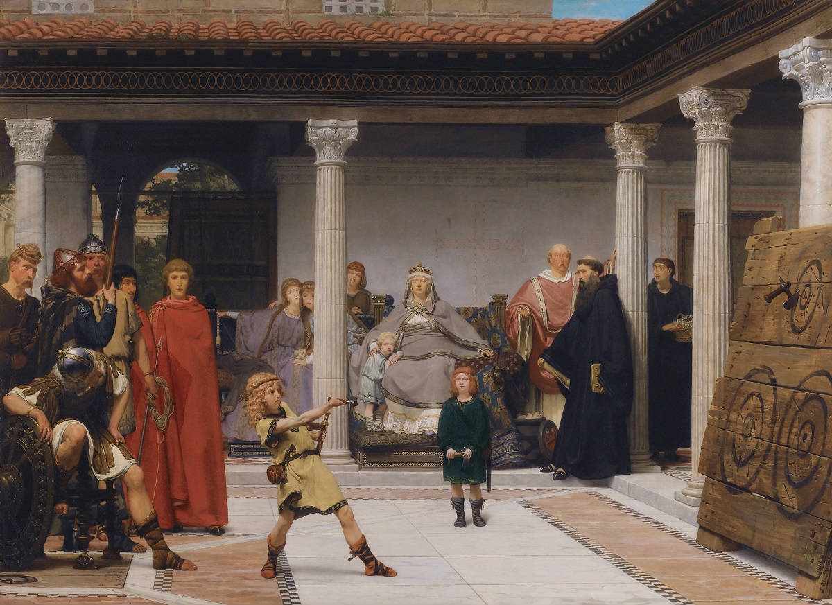 Alma-Tadema-The-Education-of-the-Children-of-Clovis-articulos-videojuegos-zehngames