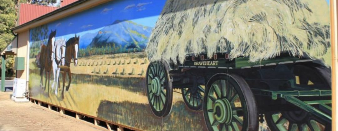 Detail of handpainted mural on the side wall of the museum in Eugowra, NSW