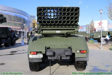 BM 21 multiple rocket launcher system Ural Truck 375D 6x6 Russia Russian army rear view 450 001
