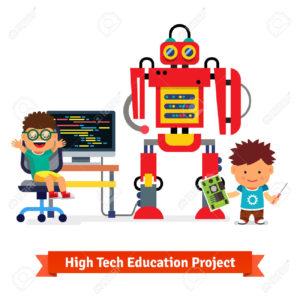 47494070-kids-are-making-and-programming-huge-robot-robotics-hardware-stock-photo