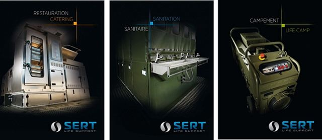 SERT military catering kitchen sanitation life camp solution cooking sanitary equipment army France French defence industry military technology