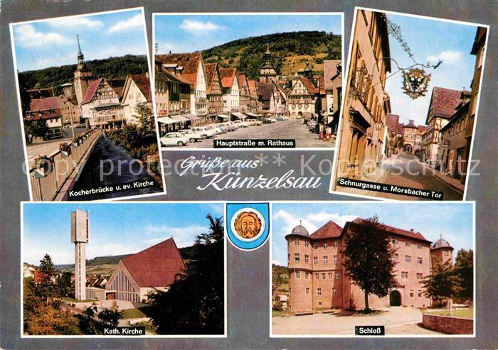 AK / Ansichtskarte Kuenzelsau Kocherbruecke Kirche Hauptstrasse Rathaus Schnurgasse Tor Schloss Kat. Kuenzelsau