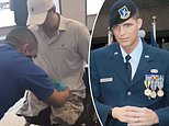 Florida triple-amputee Purple Heart veteran Brian Kolfage, 37, who garnered tens of millions online to help build a border wall, was filmed by a concerned third party while beingsubjected to an 'invasive TSA pat down' on Saturday morning in Tuscon, Arizona. The agent is pictured running the top of his hands along the tops of Kolfage's thighs, before using his palms to pat down the inner and outer areas of his thighs