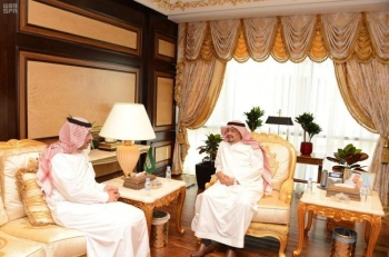 Minister of Haj and Umrah Mohammed Saleh Benten receives President of the General Authority of Civil Aviation (GACA) Abdul Hakim Mohammed Al-Tamimi in Makkah on Tuesday. — SPA