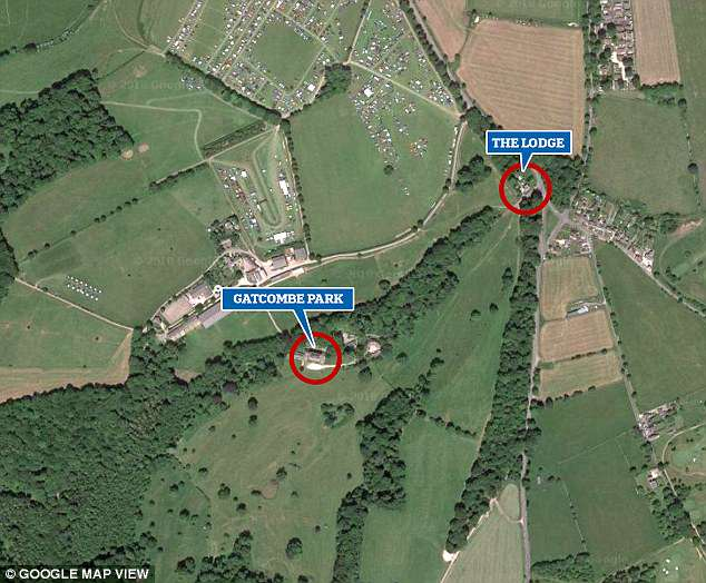 The lodge, which is set to be kitted out with a kitchen and bathroom under the plans for a two storey extension, is situated at the entrance to the Gatcombe Park estate, at the end of the drive leading from the main house (circled left) to the public road