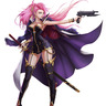 Pink hair female warrior w/ gun & blade