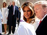 President Donald Trump and first lady Melania Trump at at St. John's Episcopal