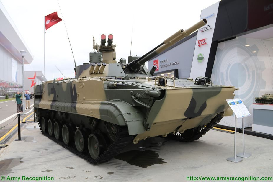 Russian Company Tractor Plants, the manufacturer of BMP-3 Infantry Fighting vehicle presents a new version of the BMP-3M fitted with a new weapon station armed with two launchers for 9M120-1 Ataka Anti-Tank Guided Missile (ATGM).