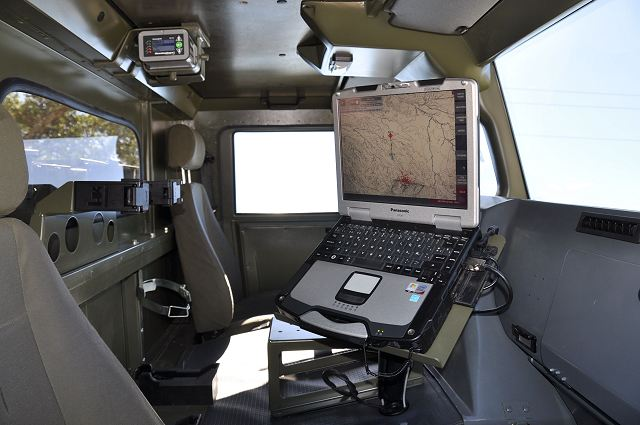 TECHFIRE Expal inside URO Vamtac light wheeled vehicle equipped with EIMOS Integrated Mortar System