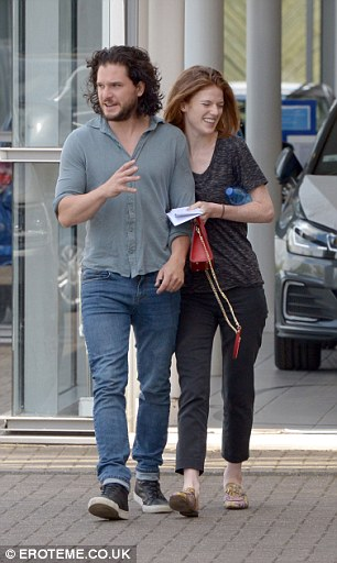 Stylish: The Scottish actress, who plays Ygritte in the HBO fantasy franchise series was casually-clad for the outing as she donned a dapple grey t-shirt and steel grey mom jeans