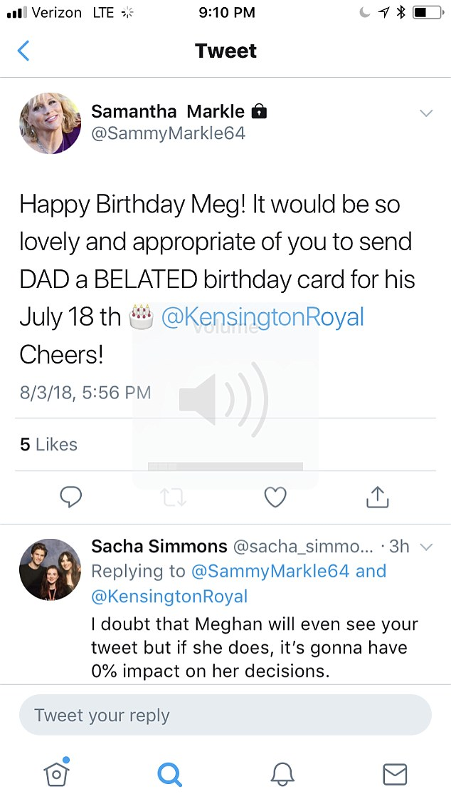 Meghan Markle's half-sister Samantha wished the duchess a happy birthday just before midnight Friday - alongside a reminder to send a belated birthday card to their father Thomas