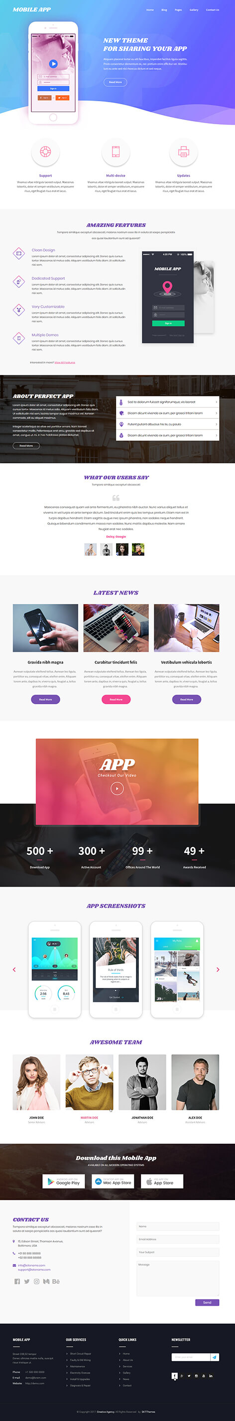 mobile app WordPress theme