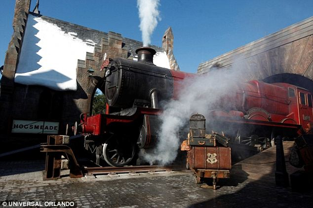 All aboard! The Hogwarrts Express comes complete with authentic sounding whistle and engine steam
