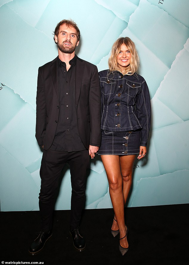 Date night: Other notable guests in attendance included blogger Elle Ferguson and partner Joel Patfull (pictured)