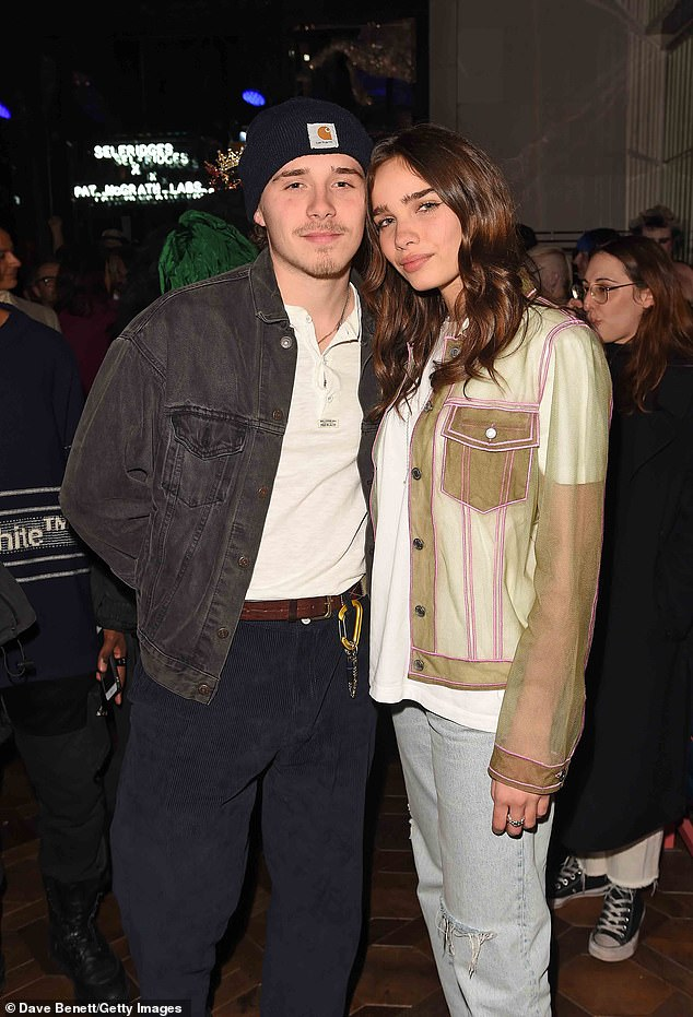 He's got style:Having been brought up by the fashionista that is Victoria Beckham, Brooklyn kept his party attire trendy in a denim jacket