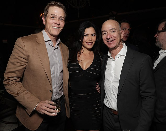 Lauren Sanchez and her husband Patrick Whitesell (left) filed their divorce on Friday, a day after her boyfriend Jeff Bezos (right with them in 2016) settled his with his wife MacKenzie