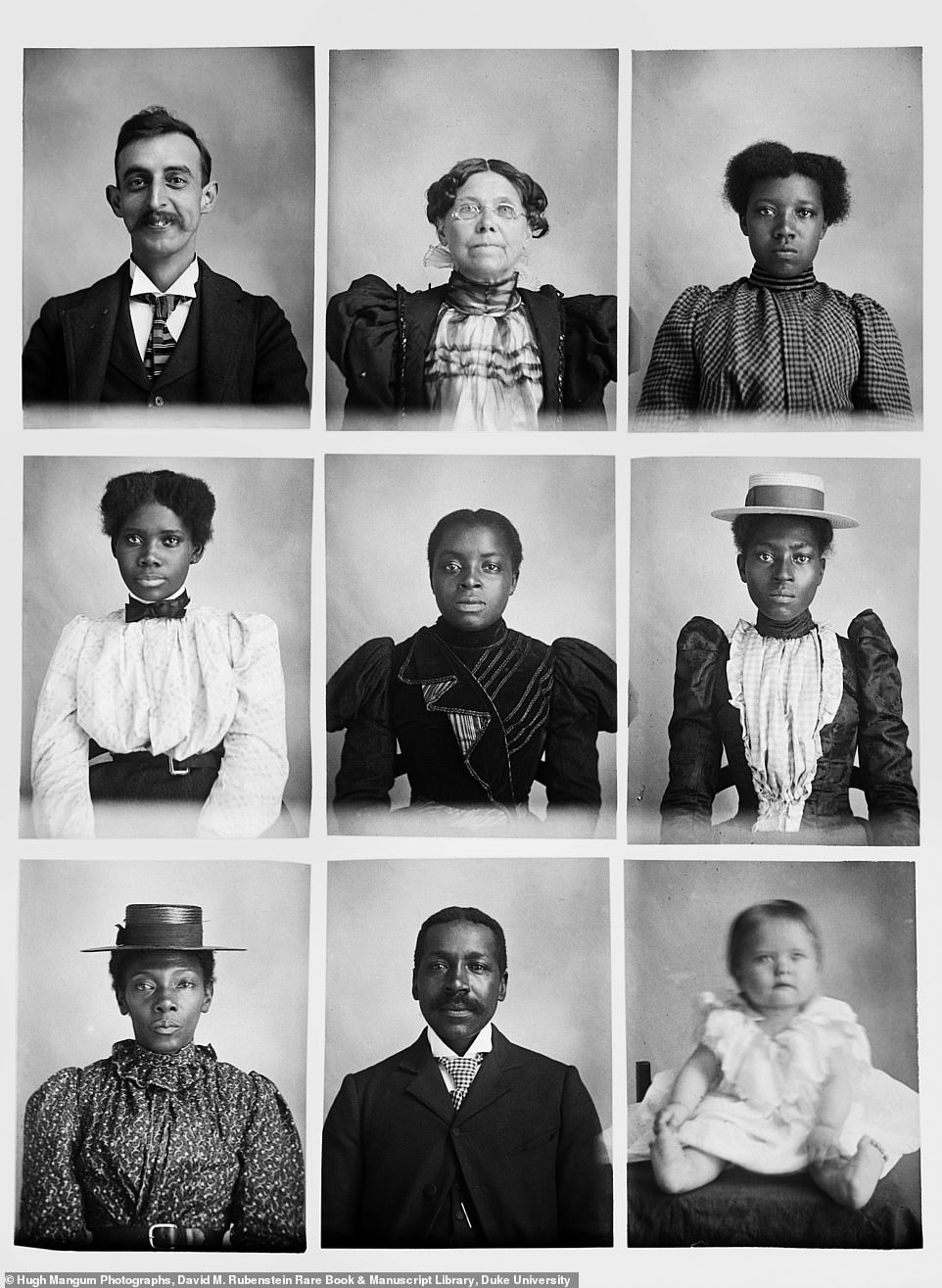 In this collection of portraits Hugh Mangum pictured himself in the top left. He traveled across much of the South and pictured subjects of various ages from across racial and economic divides. Though the American South of his era was marked by disenfranchisement, segregation and inequality, Mangum portrayed all his sitters with candor and heart, as well as showing them as individuals, author Sarah Stacke said