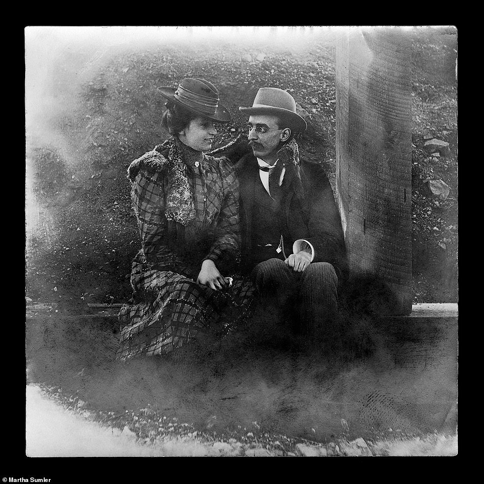 Another self-portrait image of photographer Hugh Mangum sitting alongside his wife Annie. He was said to have loved self-portraits as well as images of families and couples. The personalities in Mangum's images collectively symbolize the triumphs and struggles of these turbulent years of the early 20th century, the authors write