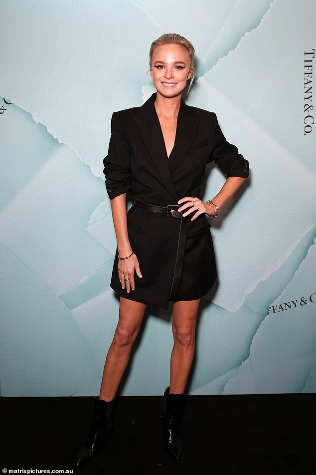 Night out: Australian blogger Nadia Fairfax (pictured) looked chic in a black blazer dress and belt