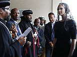 White House senior adviser Ivanka Trump, right, is greeted as she arrives for a ceremony at Holy Trinity Cathedral honoring the victims of the Ethiopian Airlines crash, Monday April 15, 2019, in Addis Ababa, Ethiopia. (AP Photo/Jacquelyn Martin)
