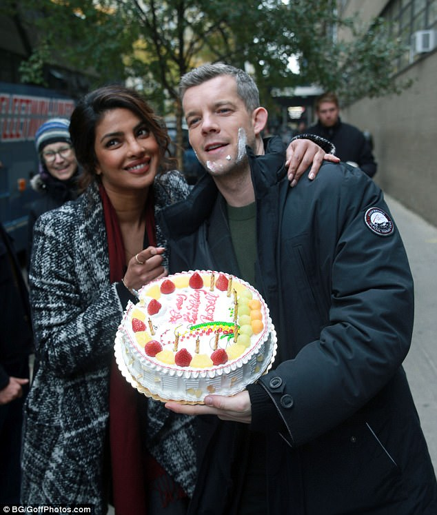 Big day: Russell currently stars in TV cop drama Quantico alongside Priyanka Chopra who helped him celebrate his birthday on November 14 last year with a special cake on set