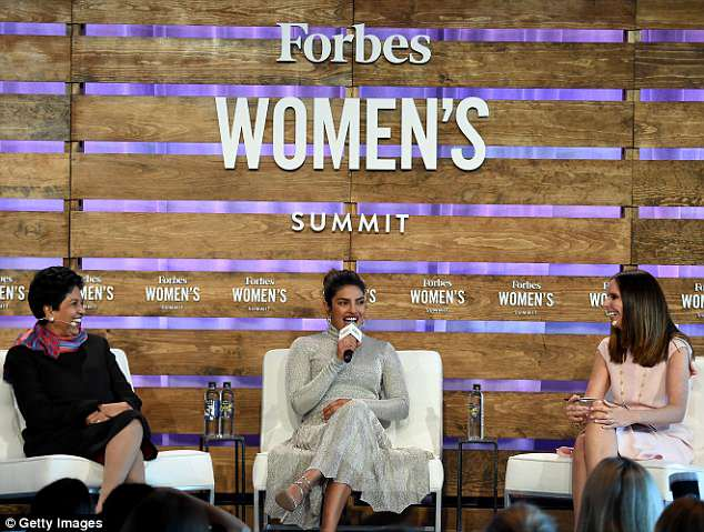 Girl power: The Baywatch actress was joined onstage by Pepsi CEO Indra Nooyi [L] and Moira Forbes [R]