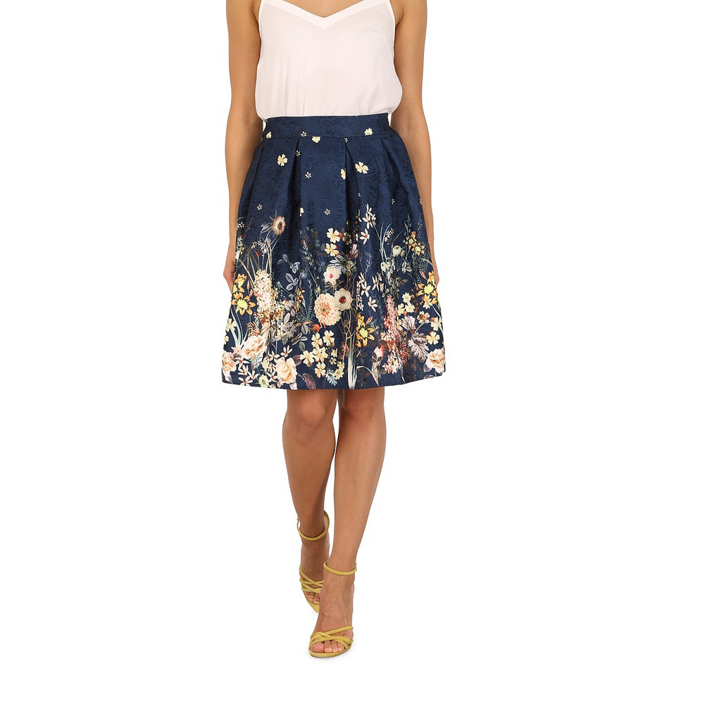 Tenki Blue flower print skirt