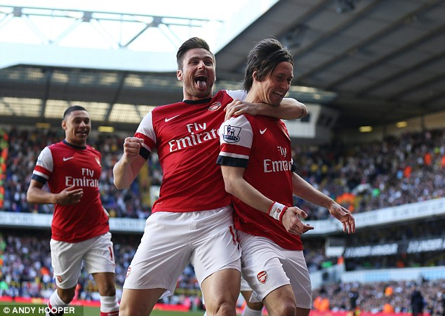 Quickfire: Rosicky's goal was the fastest ever scored by Arsenal against Tottenham in the Premier League