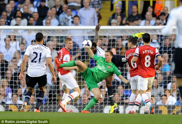 Acrobatics: Szczesny was made to earn his clean sheet in a fiercely contested derby at White Hart Lane