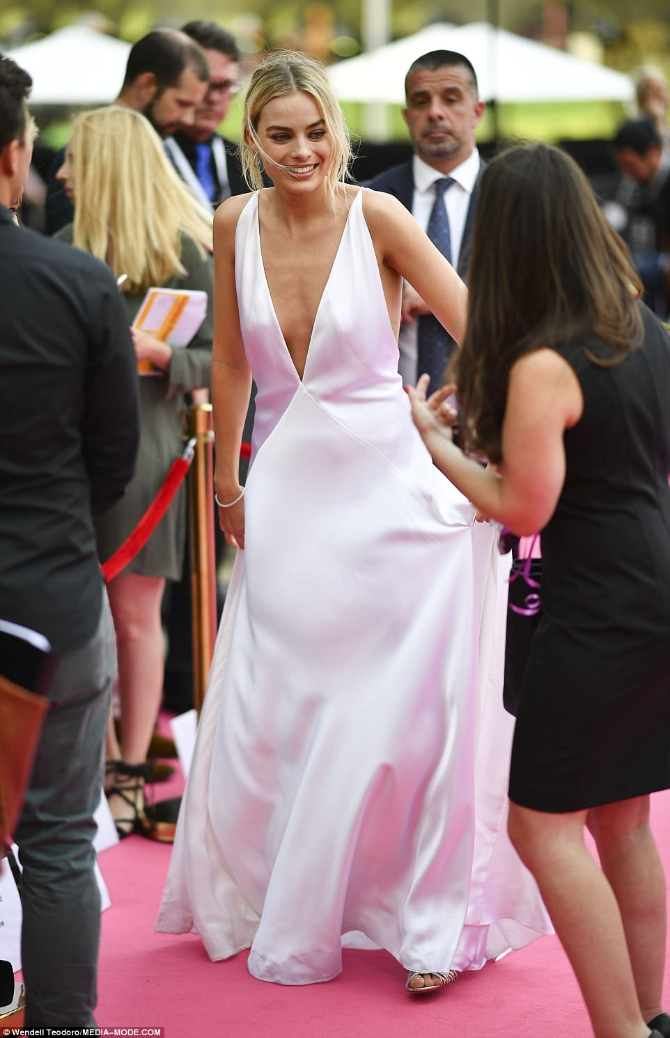 Whirlwind visit: Margot arrived on the red carpet just hours after jetting into Sydney that morning
