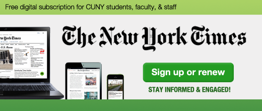 Laptop, tablet, and smartphone displaying the New York Times. Free digital subscription for all CUNY faculty, staff, and students.