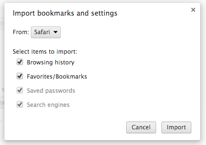 Chrome asking me to import my content from Safari