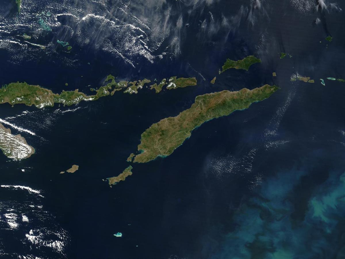 Southeast of the island of Timor (center), a phytoplankton bloom is coloring the waters of the Timor Sea, which separates Timor from northwestern Australia. To the north of Timor is Flores, which is home to numerous active volcanoes. (The red dots are due to fire, not volcanic activity.) The eastern half of Timor, as well as an exclave to the west and a few offshore islands, constitute the country of Timor-Leste. The western portion of Timor and the remaining islands (including Flores) belong to Indonesia. Image courtesy of NASA.