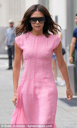 Summer style: Victoria looked positively summery in her light weight piece